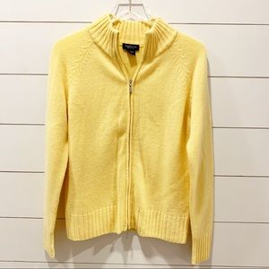 LORD & TAYLOR 100% Cashmere Zip Up Yellow Sweater